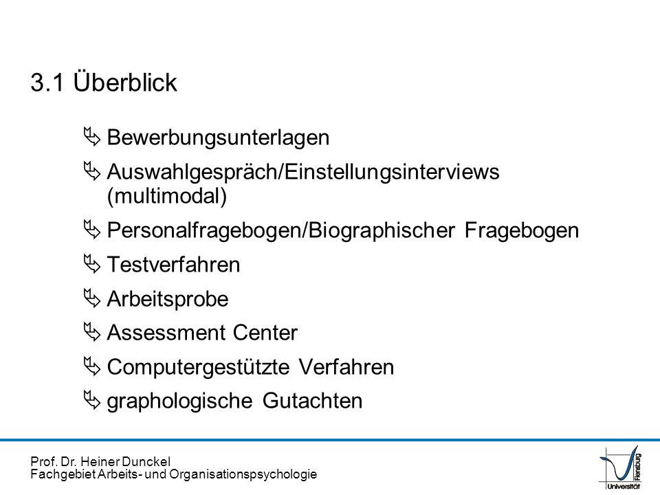 Prof. Dr. Heiner Dunckel Fachgebiet Arbeits- und Organisationspsychologie Bewerbungsunterlagen Auswahlgespräch/Einstellungsinterviews (multimodal) Per