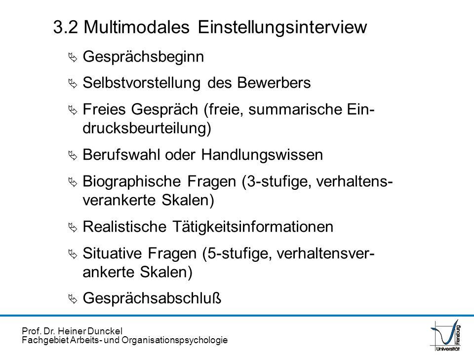 Prof. Dr. Heiner Dunckel Fachgebiet Arbeits- und Organisationspsychologie 3.2 Multimodales Einstellungsinterview Gesprächsbeginn Selbstvorstellung des