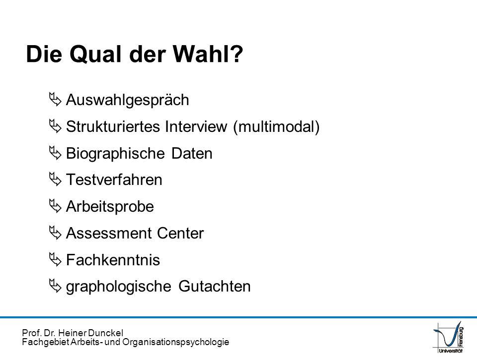 Prof. Dr. Heiner Dunckel Fachgebiet Arbeits- und Organisationspsychologie Die Qual der Wahl? Auswahlgespräch Strukturiertes Interview (multimodal) Bio