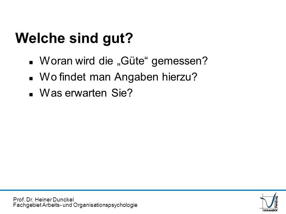 Prof. Dr. Heiner Dunckel Fachgebiet Arbeits- und Organisationspsychologie Welche sind gut? n Woran wird die Güte gemessen? n Wo findet man Angaben hie