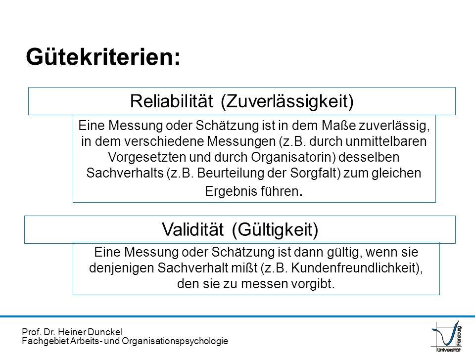 Prof. Dr. Heiner Dunckel Fachgebiet Arbeits- und Organisationspsychologie Gütekriterien: Reliabilität (Zuverlässigkeit) Eine Messung oder Schätzung is
