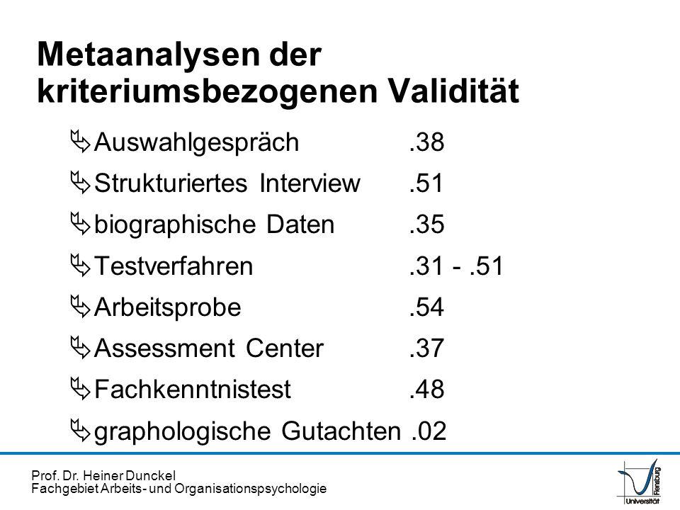 Prof. Dr. Heiner Dunckel Fachgebiet Arbeits- und Organisationspsychologie Metaanalysen der kriteriumsbezogenen Validität Auswahlgespräch.38 Strukturie