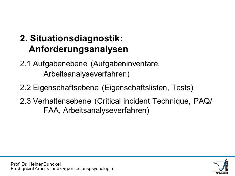 Prof. Dr. Heiner Dunckel Fachgebiet Arbeits- und Organisationspsychologie 2. Situationsdiagnostik: Anforderungsanalysen 2.1 Aufgabenebene (Aufgabeninv