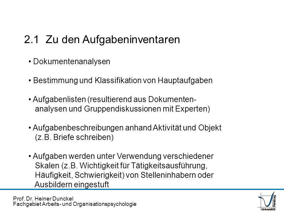 Prof. Dr. Heiner Dunckel Fachgebiet Arbeits- und Organisationspsychologie 2.1 Zu den Aufgabeninventaren Dokumentenanalysen Bestimmung und Klassifikati