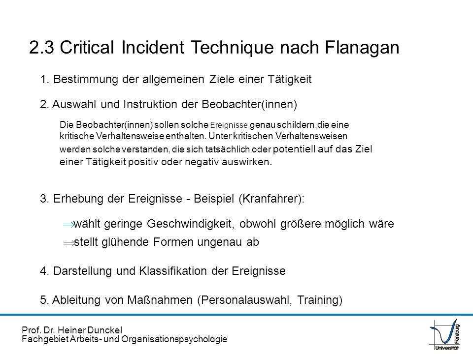 Prof. Dr. Heiner Dunckel Fachgebiet Arbeits- und Organisationspsychologie 2.3 Critical Incident Technique nach Flanagan wählt geringe Geschwindigkeit,