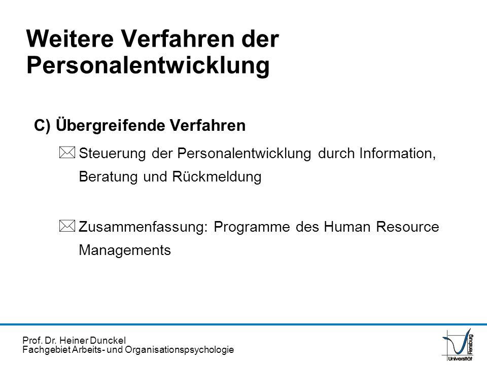 Prof. Dr. Heiner Dunckel Fachgebiet Arbeits- und Organisationspsychologie C) Übergreifende Verfahren * Steuerung der Personalentwicklung durch Informa