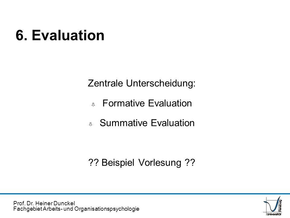 Prof. Dr. Heiner Dunckel Fachgebiet Arbeits- und Organisationspsychologie Zentrale Unterscheidung: ò Formative Evaluation ò Summative Evaluation ?? Be