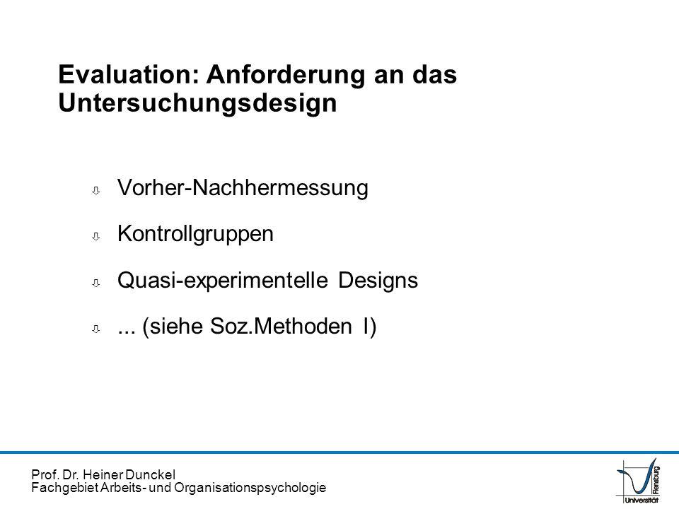 Prof. Dr. Heiner Dunckel Fachgebiet Arbeits- und Organisationspsychologie ò Vorher-Nachhermessung ò Kontrollgruppen ò Quasi-experimentelle Designs ò..