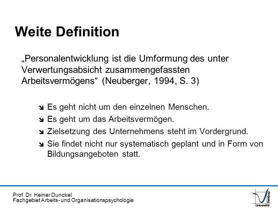 Prof. Dr. Heiner Dunckel Fachgebiet Arbeits- und Organisationspsychologie Personalentwicklung ist die Umformung des unter Verwertungsabsicht zusammeng