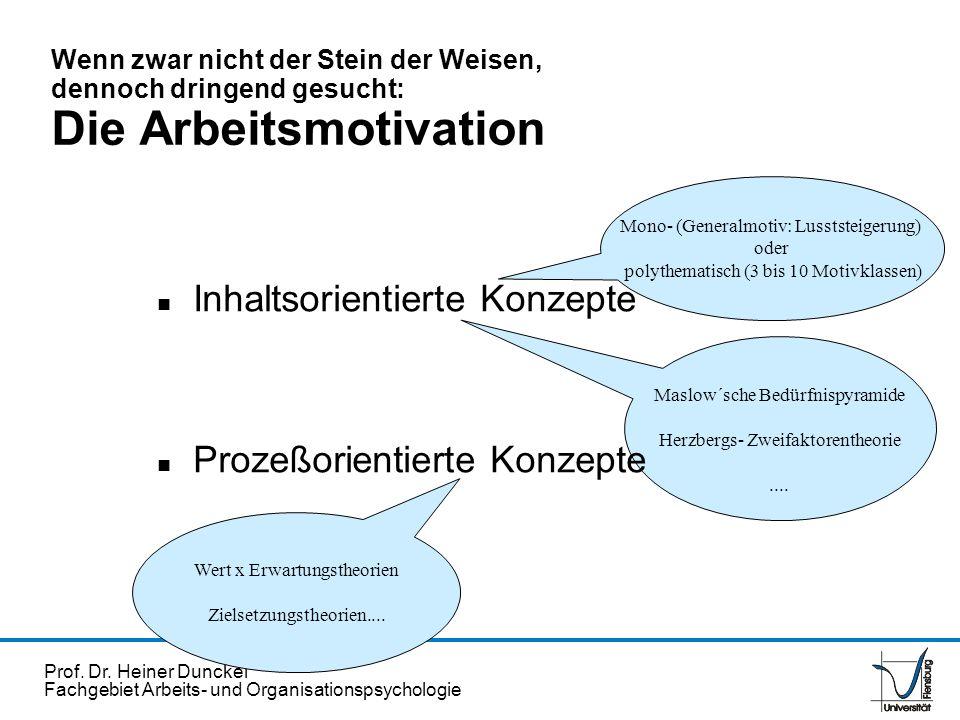Prof. Dr. Heiner Dunckel Fachgebiet Arbeits- und Organisationspsychologie Mono- (Generalmotiv: Lusststeigerung) oder polythematisch (3 bis 10 Motivkla