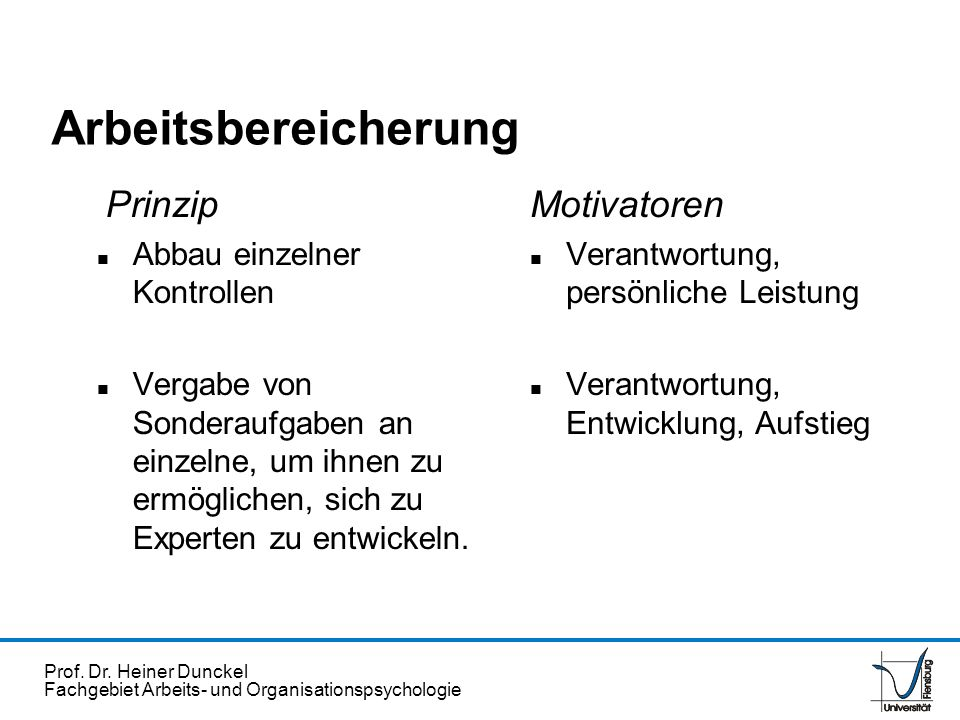 Prof. Dr. Heiner Dunckel Fachgebiet Arbeits- und Organisationspsychologie Arbeitsbereicherung Prinzip n Abbau einzelner Kontrollen n Vergabe von Sonde