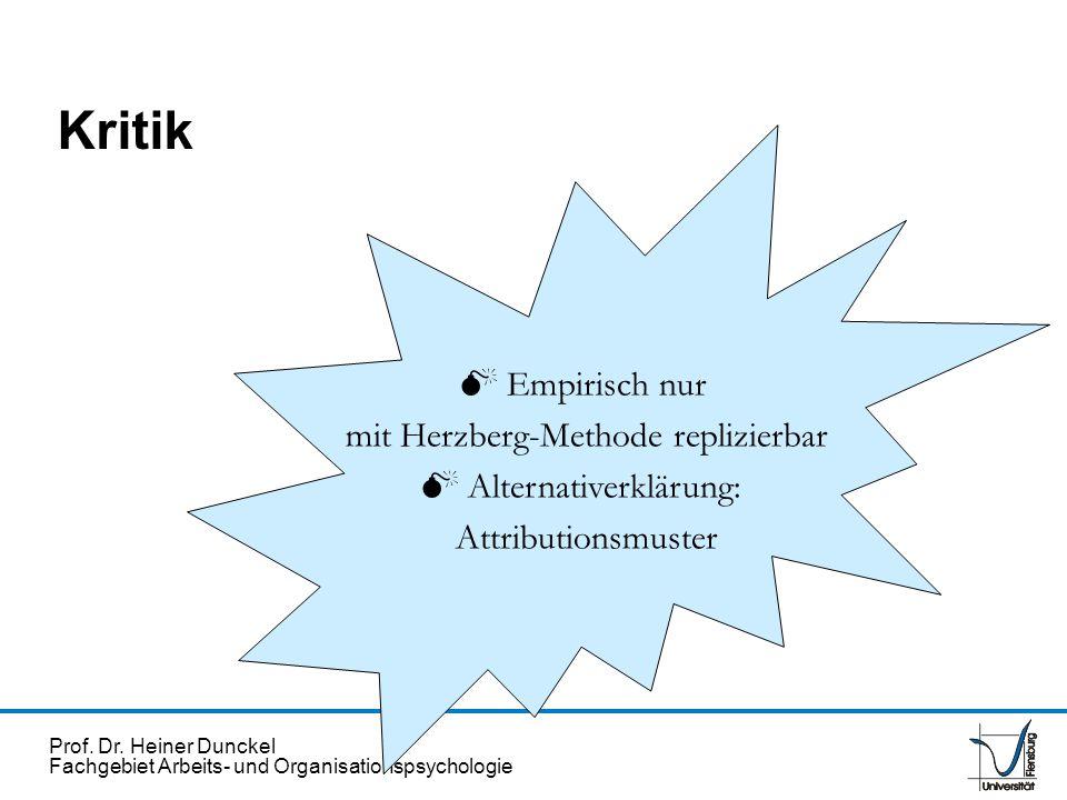 Prof. Dr. Heiner Dunckel Fachgebiet Arbeits- und Organisationspsychologie Kritik Empirisch nur mit Herzberg-Methode replizierbar Alternativerklärung: