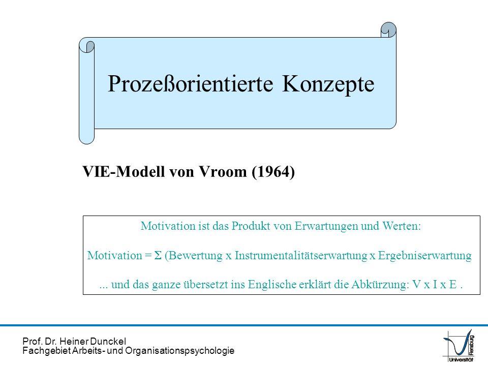 Prof. Dr. Heiner Dunckel Fachgebiet Arbeits- und Organisationspsychologie Motivation ist das Produkt von Erwartungen und Werten: Motivation = (Bewertu