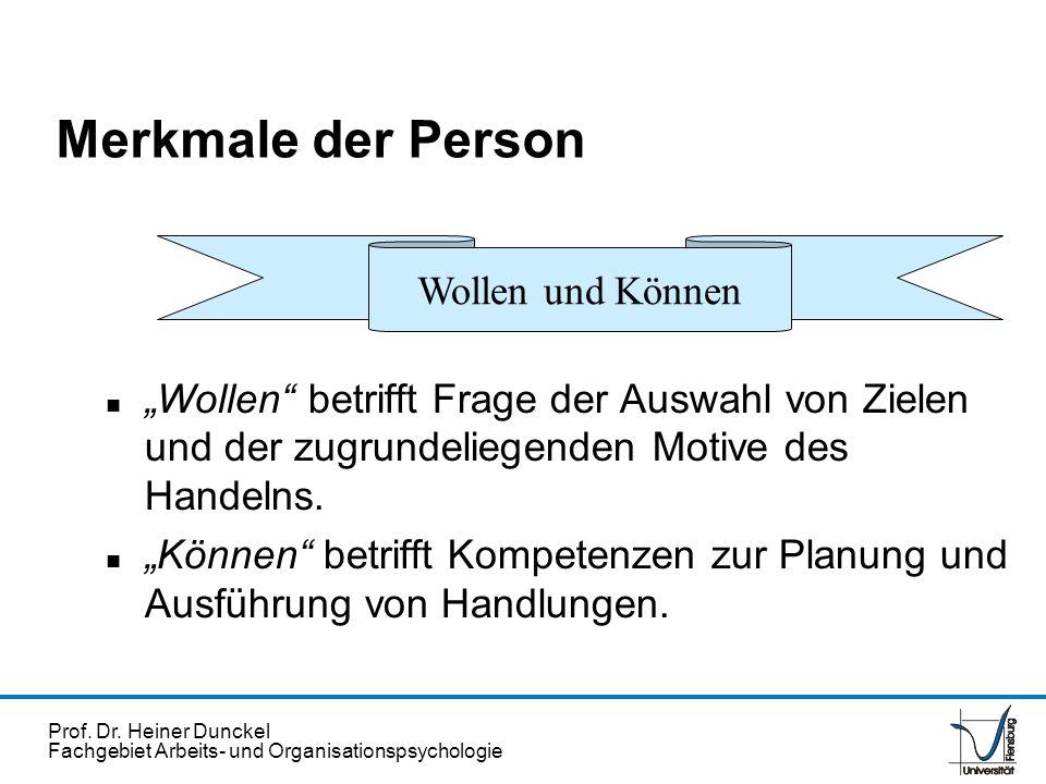 Prof. Dr. Heiner Dunckel Fachgebiet Arbeits- und Organisationspsychologie Wollen und Können Merkmale der Person n Wollen betrifft Frage der Auswahl vo