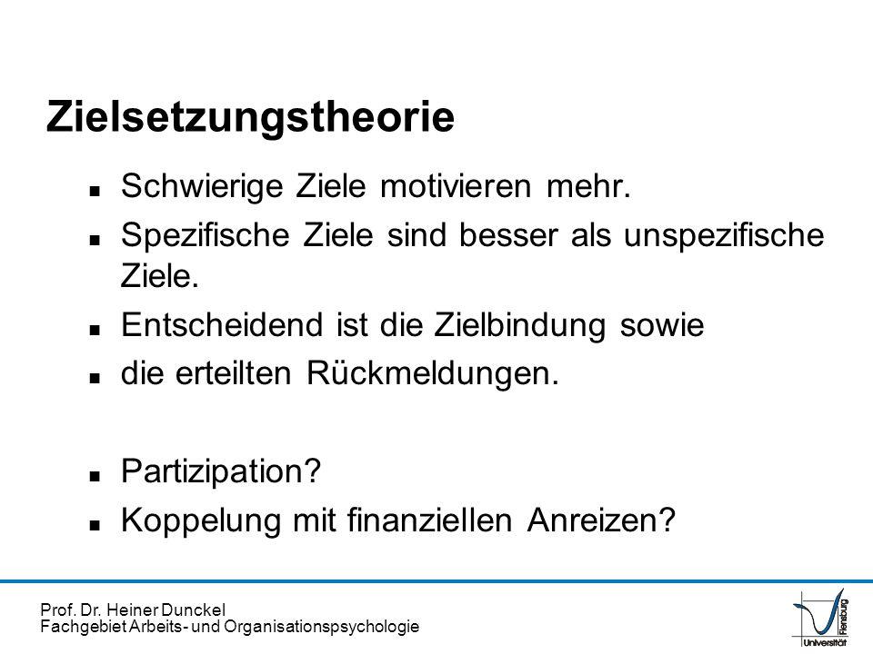 Prof. Dr. Heiner Dunckel Fachgebiet Arbeits- und Organisationspsychologie Zielsetzungstheorie n Schwierige Ziele motivieren mehr. n Spezifische Ziele