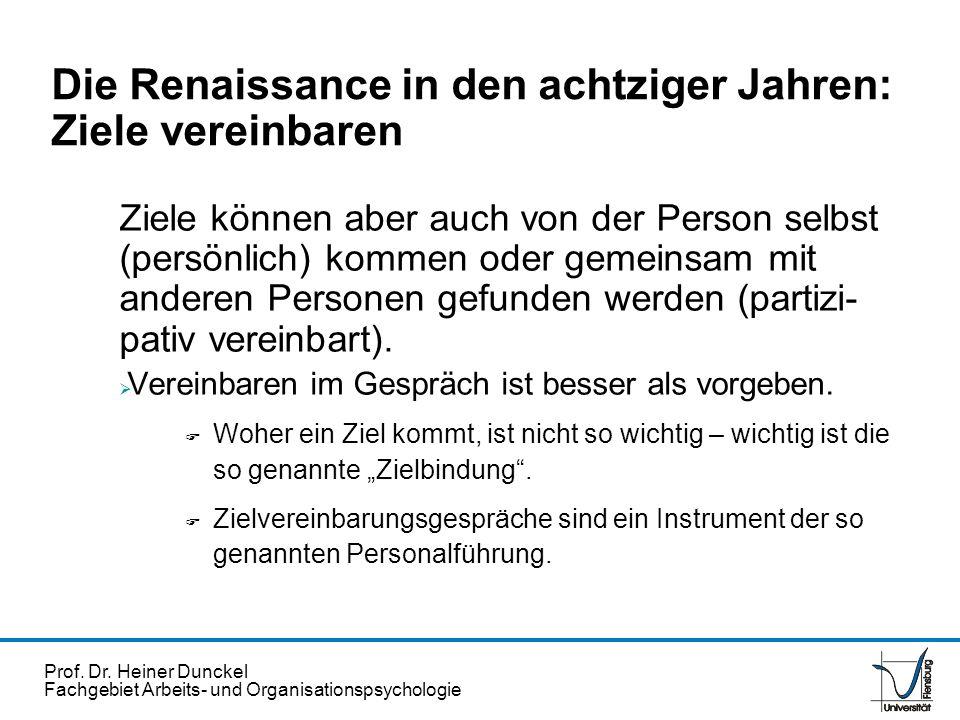 Prof. Dr. Heiner Dunckel Fachgebiet Arbeits- und Organisationspsychologie Die Renaissance in den achtziger Jahren: Ziele vereinbaren Ziele können aber