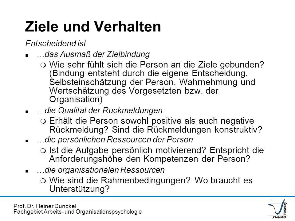 Prof. Dr. Heiner Dunckel Fachgebiet Arbeits- und Organisationspsychologie Ziele und Verhalten Entscheidend ist n …das Ausmaß der Zielbindung m Wie seh