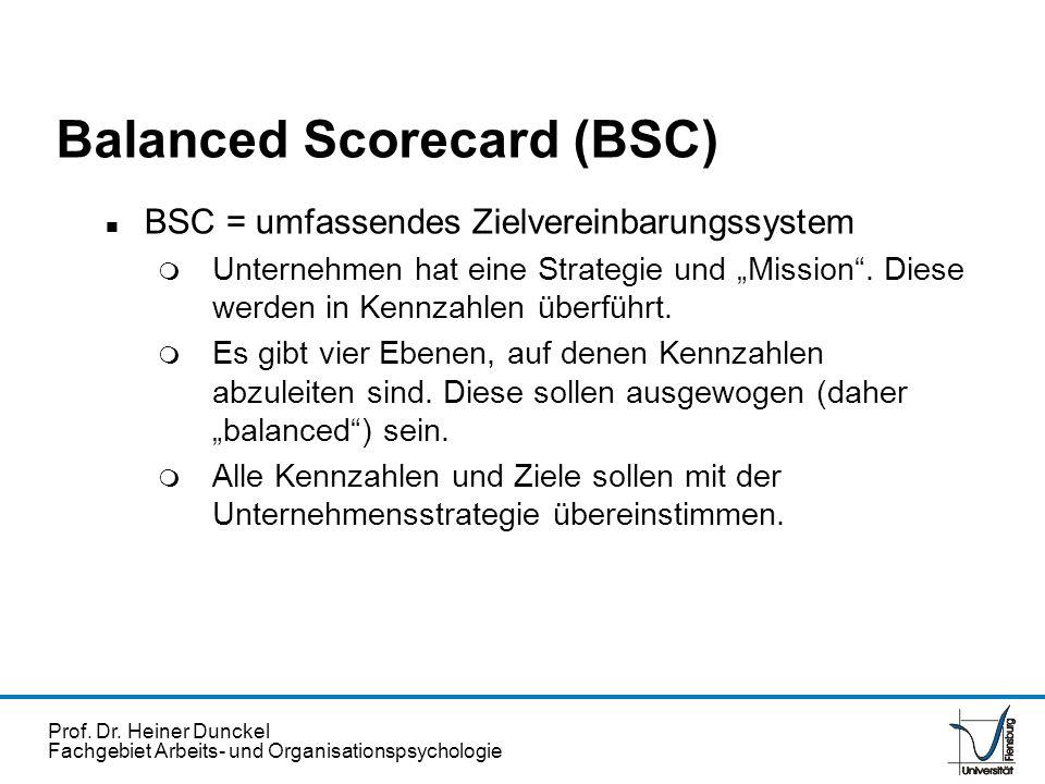 Prof. Dr. Heiner Dunckel Fachgebiet Arbeits- und Organisationspsychologie Balanced Scorecard (BSC) n BSC = umfassendes Zielvereinbarungssystem m Unter