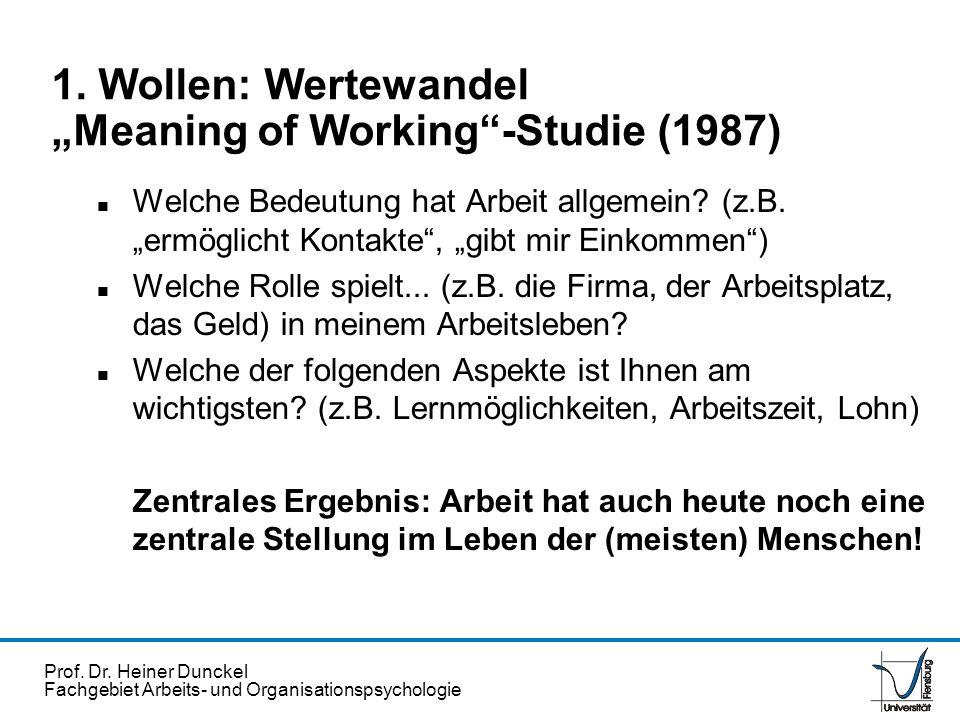 Prof. Dr. Heiner Dunckel Fachgebiet Arbeits- und Organisationspsychologie 1. Wollen: Wertewandel Meaning of Working-Studie (1987) n Welche Bedeutung h