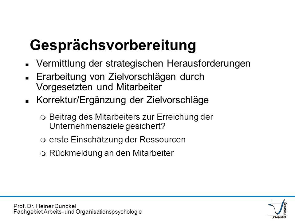 Prof. Dr. Heiner Dunckel Fachgebiet Arbeits- und Organisationspsychologie Gesprächsvorbereitung n Vermittlung der strategischen Herausforderungen n Er