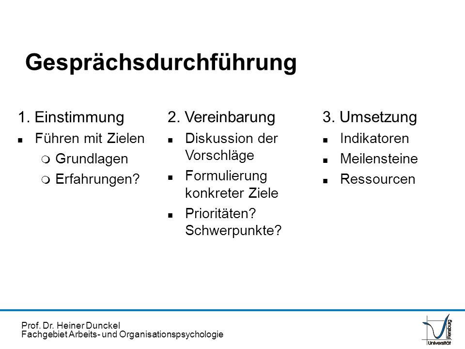 Prof. Dr. Heiner Dunckel Fachgebiet Arbeits- und Organisationspsychologie Gesprächsdurchführung 1. Einstimmung n Führen mit Zielen m Grundlagen m Erfa