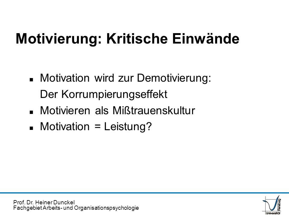 Prof. Dr. Heiner Dunckel Fachgebiet Arbeits- und Organisationspsychologie Motivierung: Kritische Einwände n Motivation wird zur Demotivierung: Der Kor
