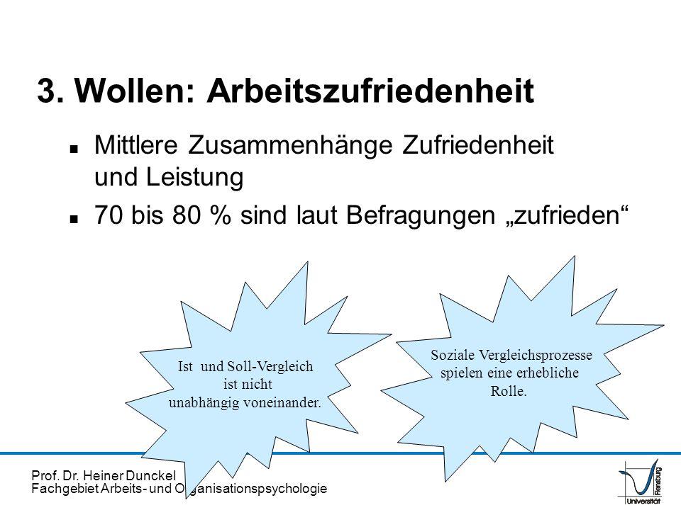 Prof. Dr. Heiner Dunckel Fachgebiet Arbeits- und Organisationspsychologie 3. Wollen: Arbeitszufriedenheit n Mittlere Zusammenhänge Zufriedenheit und L