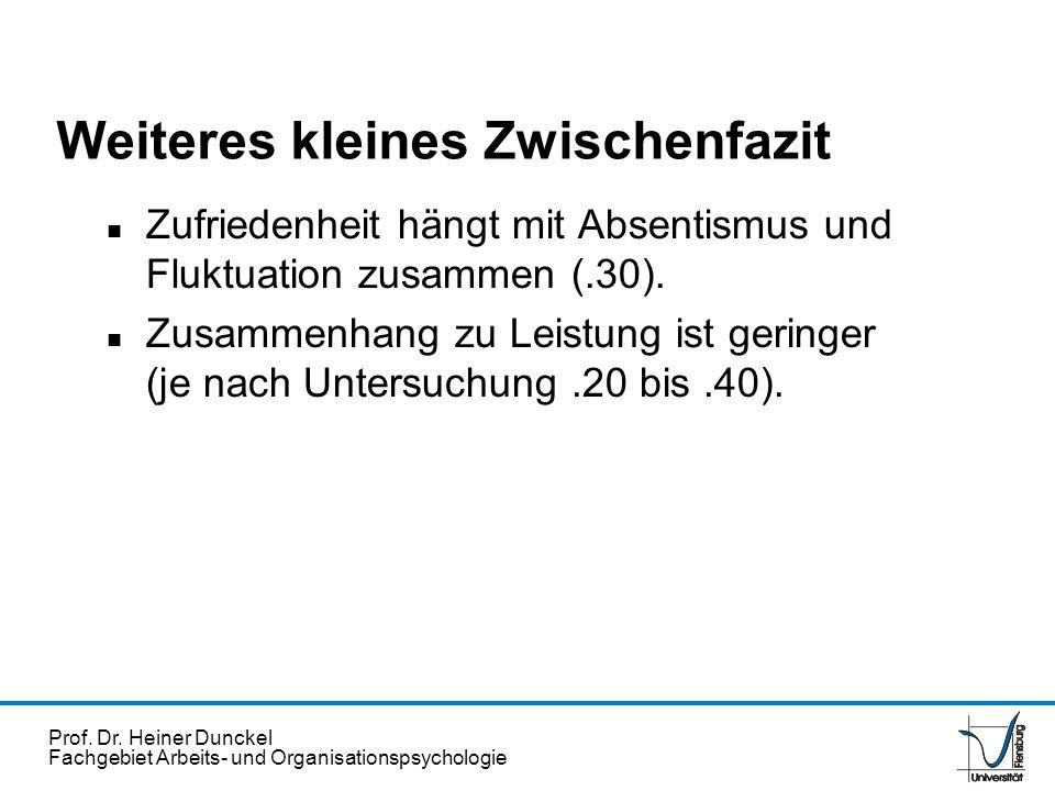 Prof. Dr. Heiner Dunckel Fachgebiet Arbeits- und Organisationspsychologie Weiteres kleines Zwischenfazit n Zufriedenheit hängt mit Absentismus und Flu