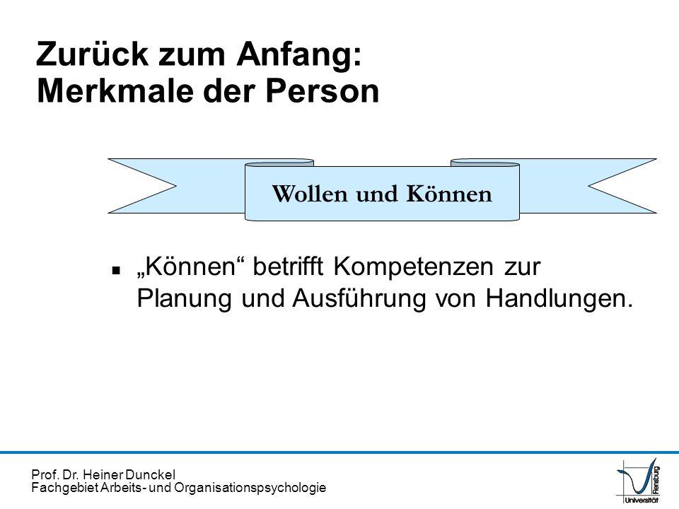 Prof. Dr. Heiner Dunckel Fachgebiet Arbeits- und Organisationspsychologie Zurück zum Anfang: Merkmale der Person n Können betrifft Kompetenzen zur Pla