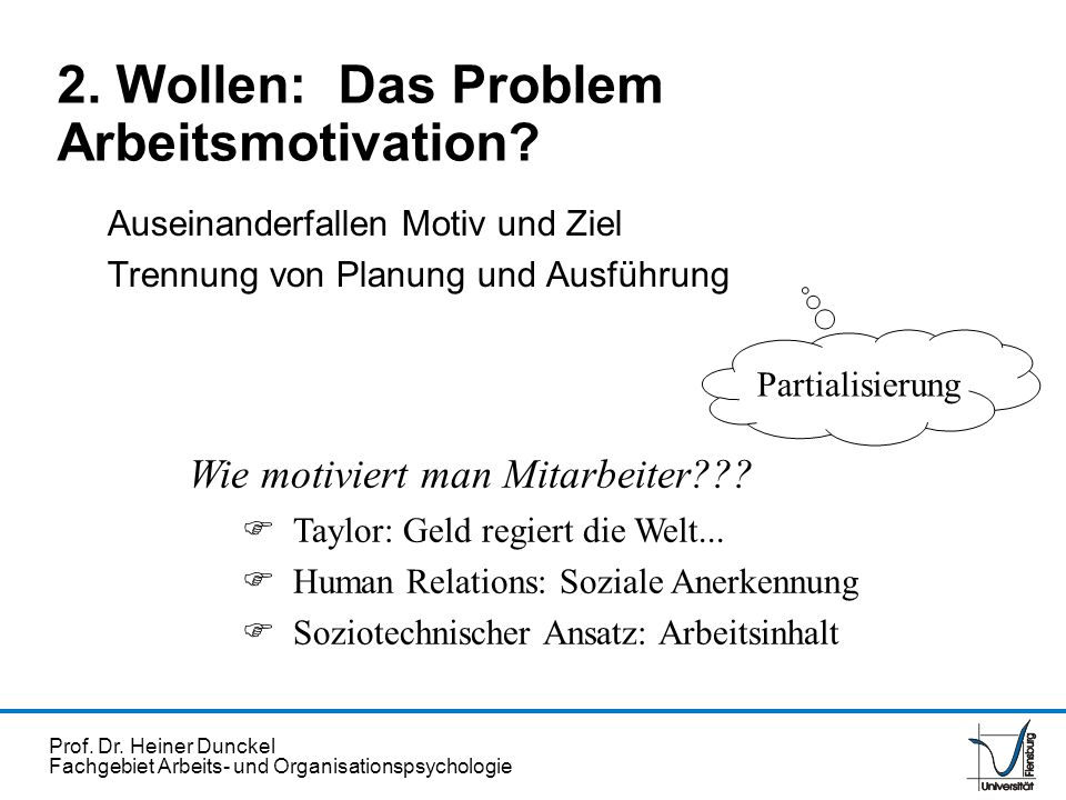 Prof. Dr. Heiner Dunckel Fachgebiet Arbeits- und Organisationspsychologie Auseinanderfallen Motiv und Ziel Trennung von Planung und Ausführung Partial