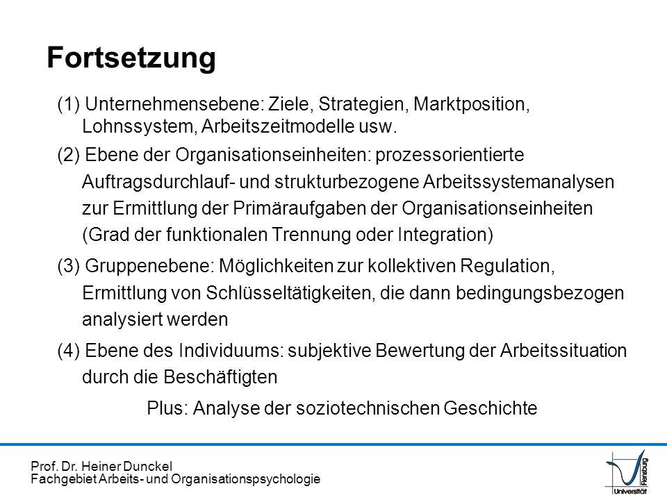 Prof. Dr. Heiner Dunckel Fachgebiet Arbeits- und Organisationspsychologie (1) Unternehmensebene: Ziele, Strategien, Marktposition, Lohnssystem, Arbeit