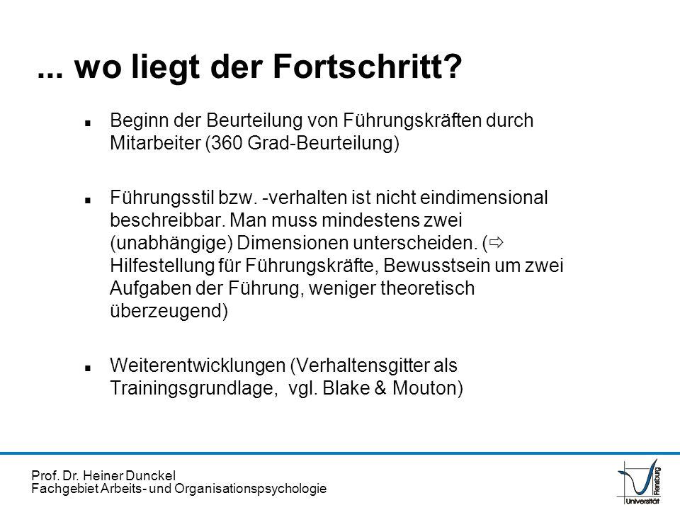 Prof. Dr. Heiner Dunckel Fachgebiet Arbeits- und Organisationspsychologie n Beginn der Beurteilung von Führungskräften durch Mitarbeiter (360 Grad-Beu