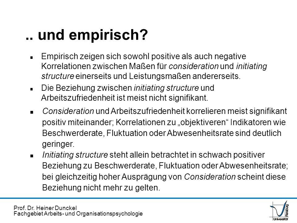 Prof. Dr. Heiner Dunckel Fachgebiet Arbeits- und Organisationspsychologie n Empirisch zeigen sich sowohl positive als auch negative Korrelationen zwis