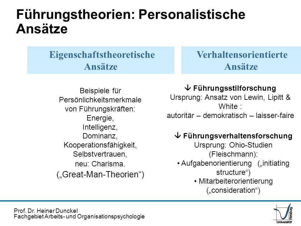 Prof. Dr. Heiner Dunckel Fachgebiet Arbeits- und Organisationspsychologie Eigenschaftstheoretische Ansätze Verhaltensorientierte Ansätze Beispiele für