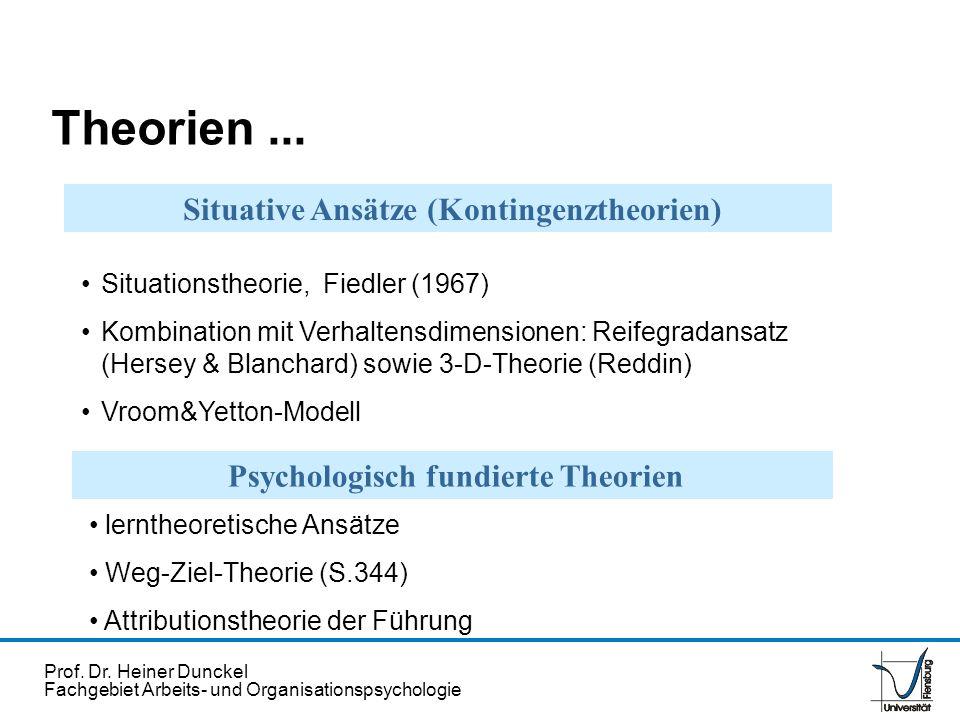 Prof. Dr. Heiner Dunckel Fachgebiet Arbeits- und Organisationspsychologie Situationstheorie, Fiedler (1967) Kombination mit Verhaltensdimensionen: Rei