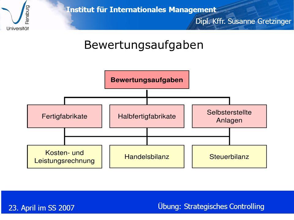Institut für Internationales Management Dipl. Kffr. Susanne Gretzinger 23. April im SS 2007 Übung: Strategisches Controlling Bewertungsaufgaben