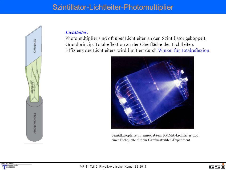 MP-41 Teil 2: Physik exotischer Kerne, SS-2011 Szintillator-Lichtleiter-Photomultiplier Lichtleiter: Photomultiplier sind oft über Lichtleiter an den Szintillator gekoppelt.