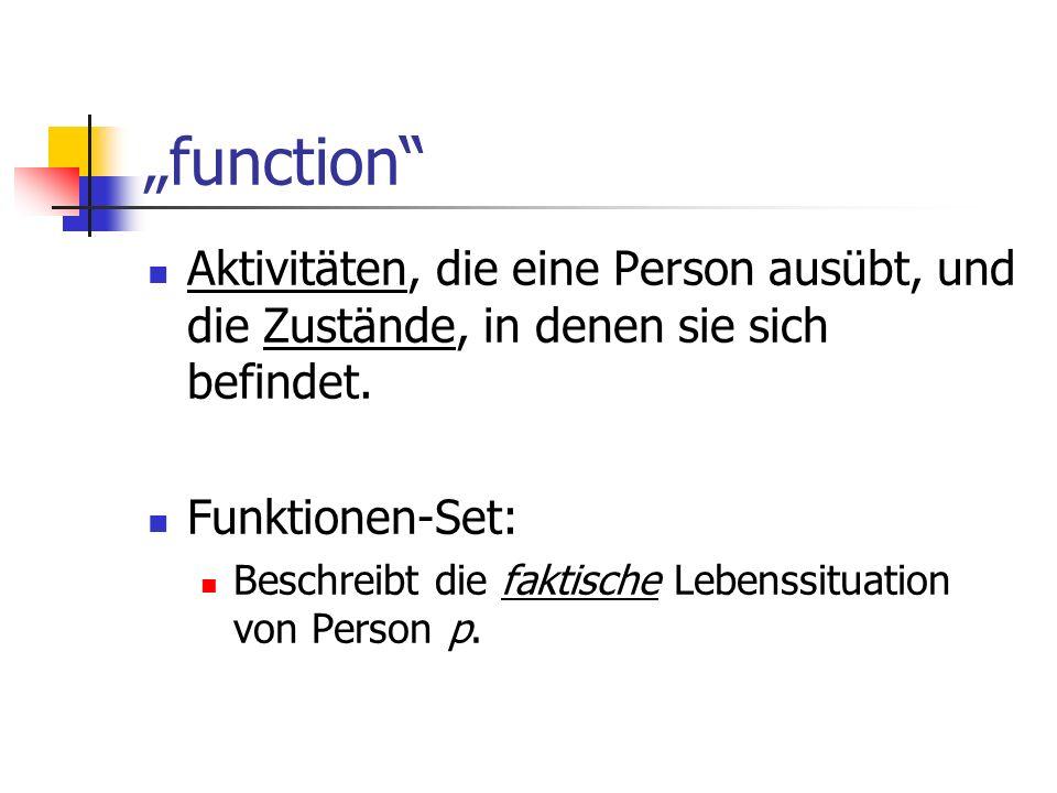 function Aktivitäten, die eine Person ausübt, und die Zustände, in denen sie sich befindet. Funktionen-Set: Beschreibt die faktische Lebenssituation v