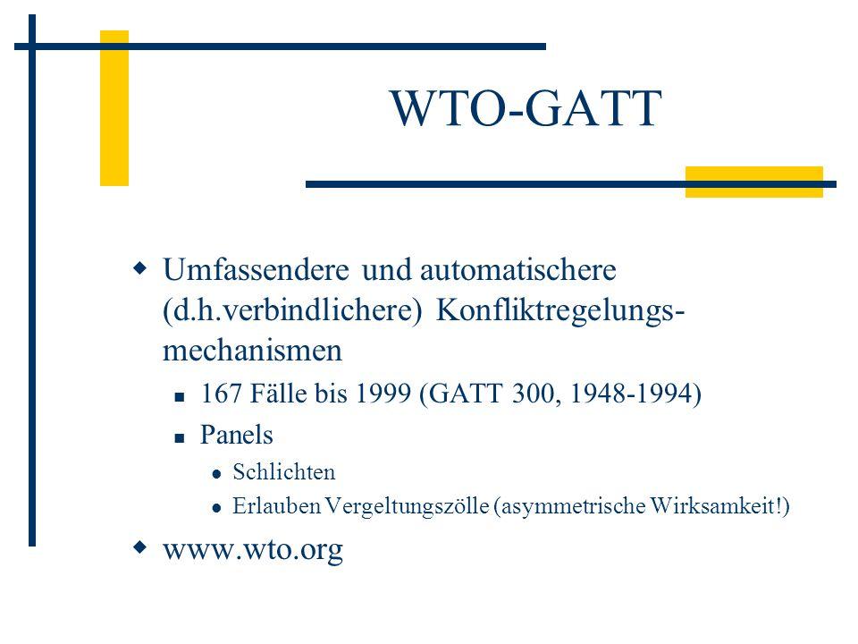 WTO-GATT Umfassendere und automatischere (d.h.verbindlichere) Konfliktregelungs- mechanismen 167 Fälle bis 1999 (GATT 300, 1948-1994) Panels Schlichte