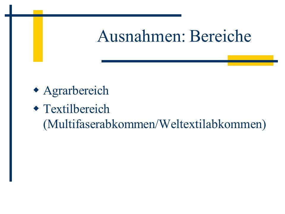 Ausnahmen: Bereiche Agrarbereich Textilbereich (Multifaserabkommen/Weltextilabkommen)