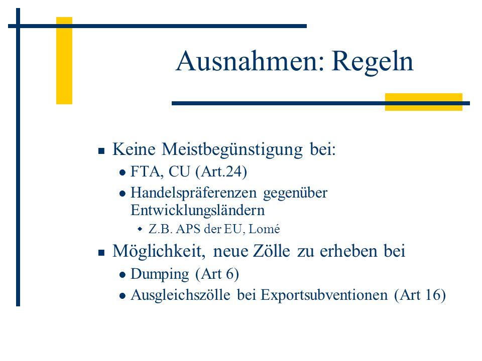 Ausnahmen: Regeln Keine Meistbegünstigung bei: FTA, CU (Art.24) Handelspräferenzen gegenüber Entwicklungsländern Z.B. APS der EU, Lomé Möglichkeit, ne