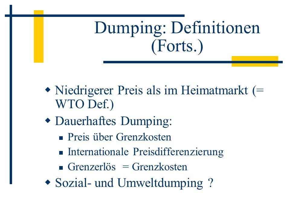 Dumping: Definitionen (Forts.) Niedrigerer Preis als im Heimatmarkt (= WTO Def.) Dauerhaftes Dumping: Preis über Grenzkosten Internationale Preisdiffe