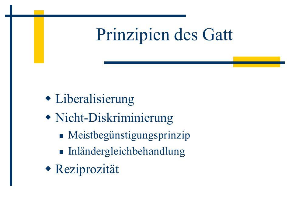 Prinzipien des Gatt Liberalisierung Nicht-Diskriminierung Meistbegünstigungsprinzip Inländergleichbehandlung Reziprozität