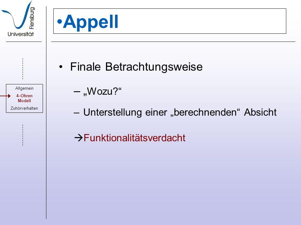 Appell Finale Betrachtungsweise – Wozu.