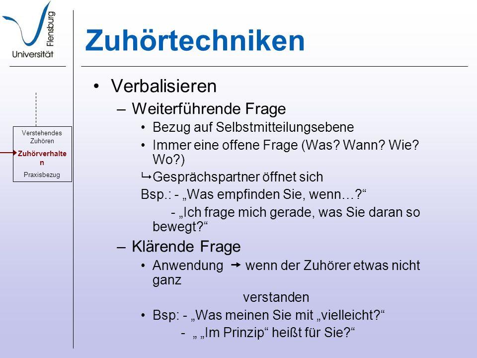 Zuhörtechniken Verbalisieren –Weiterführende Frage Bezug auf Selbstmitteilungsebene Immer eine offene Frage (Was.