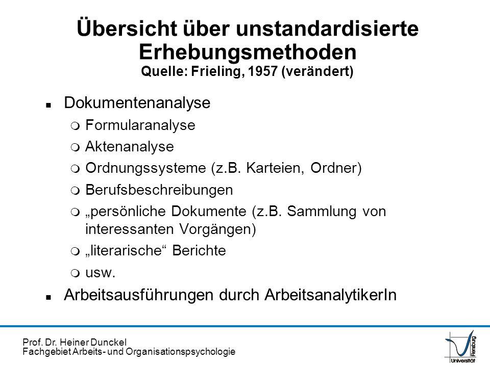Prof. Dr. Heiner Dunckel Fachgebiet Arbeits- und Organisationspsychologie Übersicht über unstandardisierte Erhebungsmethoden Quelle: Frieling, 1957 (v