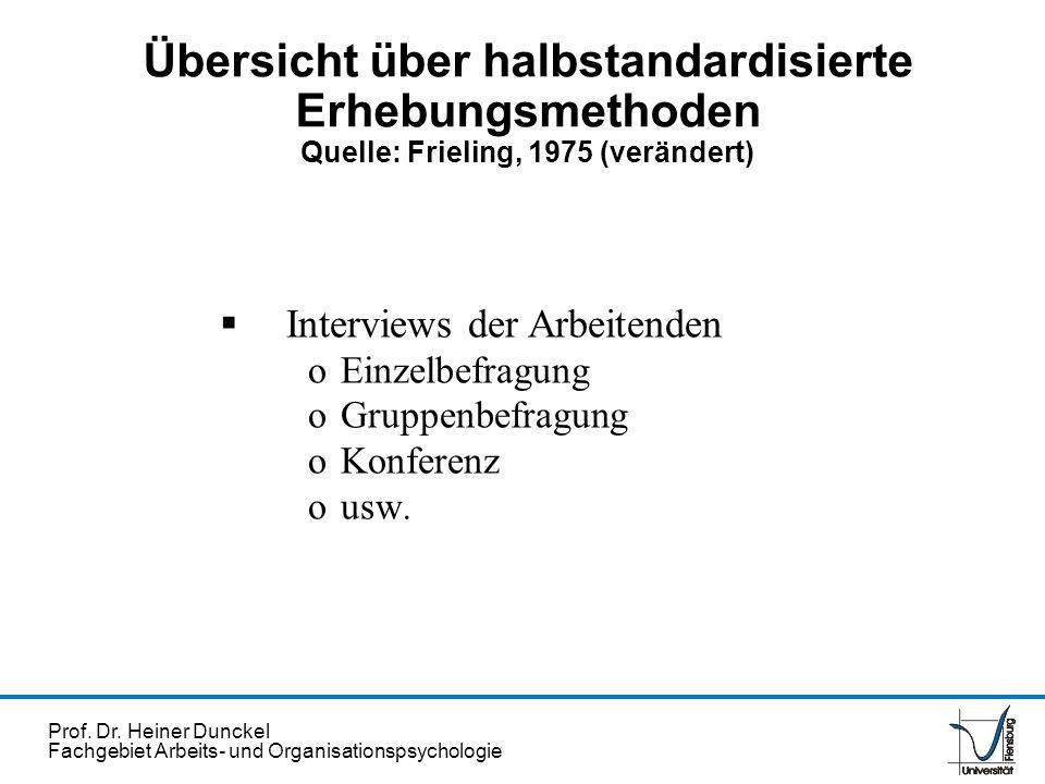 Prof. Dr. Heiner Dunckel Fachgebiet Arbeits- und Organisationspsychologie Übersicht über halbstandardisierte Erhebungsmethoden Quelle: Frieling, 1975