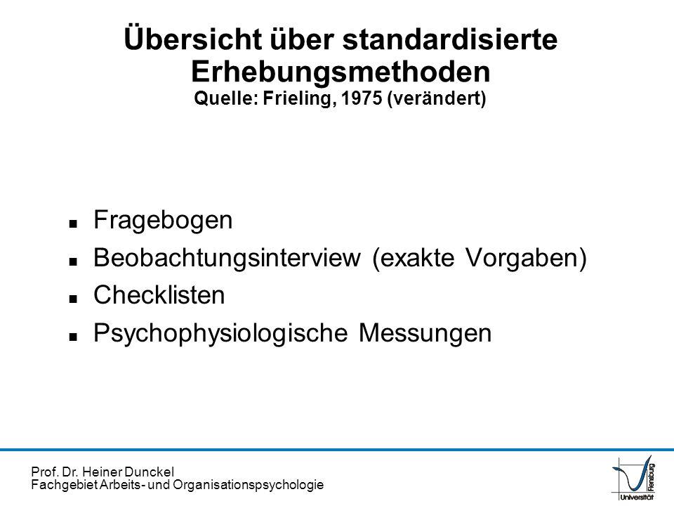 Prof. Dr. Heiner Dunckel Fachgebiet Arbeits- und Organisationspsychologie Übersicht über standardisierte Erhebungsmethoden Quelle: Frieling, 1975 (ver