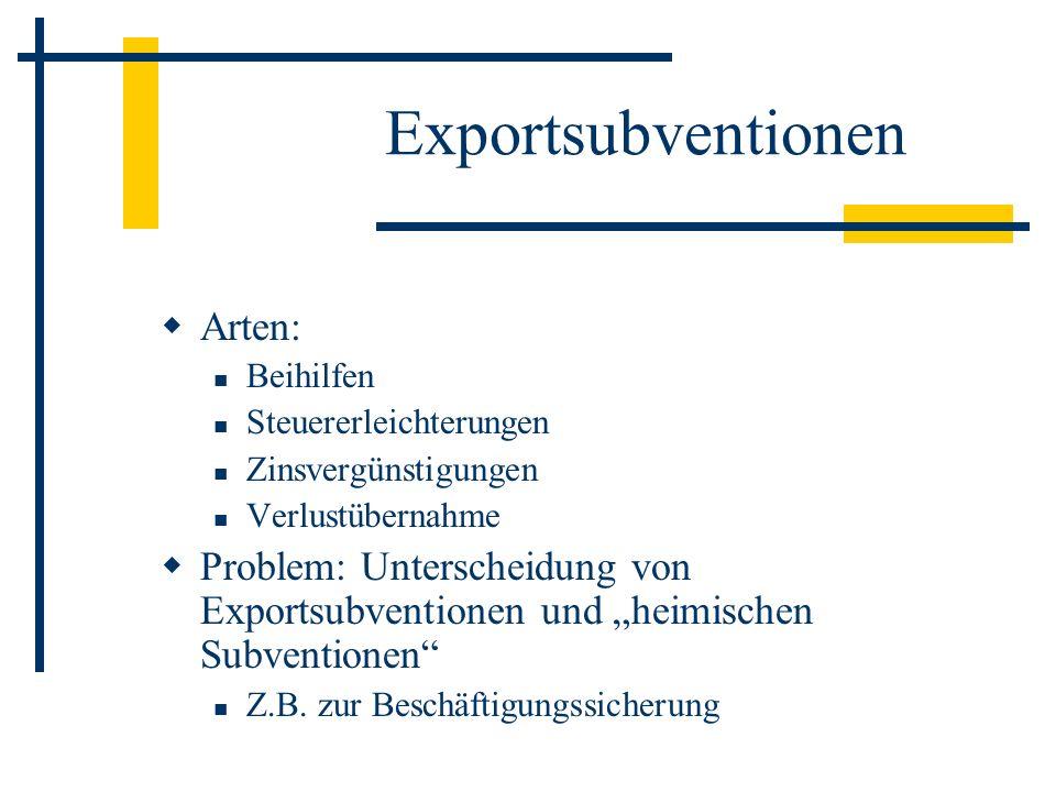 Exportsubventionen Arten: Beihilfen Steuererleichterungen Zinsvergünstigungen Verlustübernahme Problem: Unterscheidung von Exportsubventionen und heimischen Subventionen Z.B.