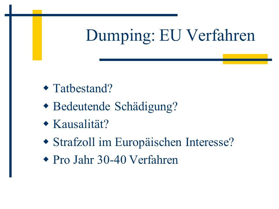 Dumping: EU Verfahren Tatbestand? Bedeutende Schädigung? Kausalität? Strafzoll im Europäischen Interesse? Pro Jahr 30-40 Verfahren